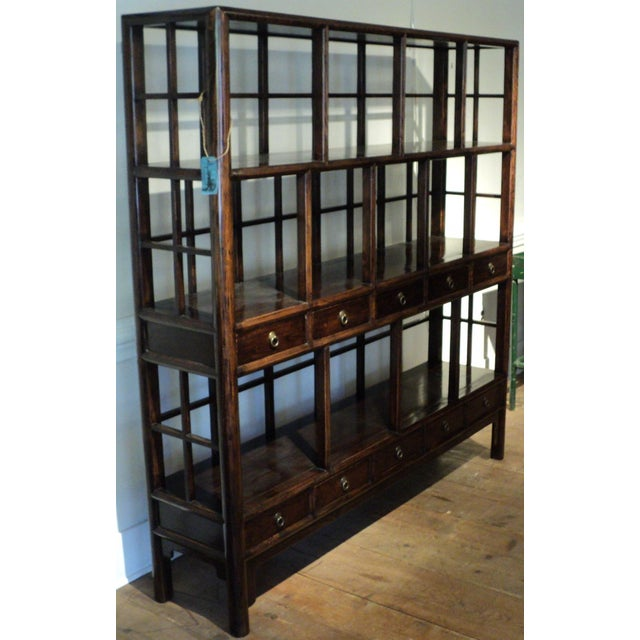 Large Antique Chinese Solid Wood Multi Drawer Etagere - Image 5 of 11