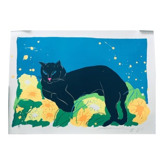 Black Cat, Walasse Ting Original Hand Signed Lithograph 1981 For Sale