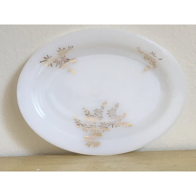 Gilded Milk Glass Mid Century Serving Tray - Image 5 of 8