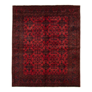 """6'4"""" X 7'5"""" Hand-Knotted Afghan Tribal Rug- 6′4″ × 7′5″ For Sale"""