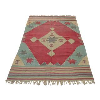 Vintage Hand Woven Turkish OushakRug Kilim Wool Rug - 4′6″ × 6′7″ For Sale