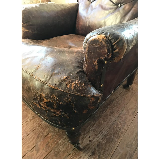 Brown Old, Distressed Leather Club Chair For Sale - Image 8 of 10