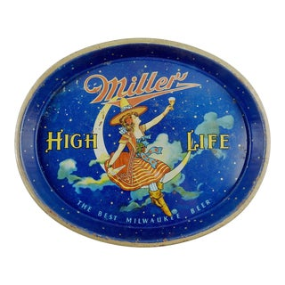 Vintage Miller High Life Beer Metal Lithographed Tray
