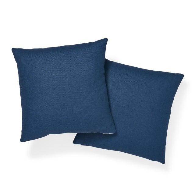 "Schumacher Contemporary Schumacher Ibiza Flamestitch Pool Cotton Linen Pillow - 20ʺW × 20""H For Sale - Image 4 of 7"