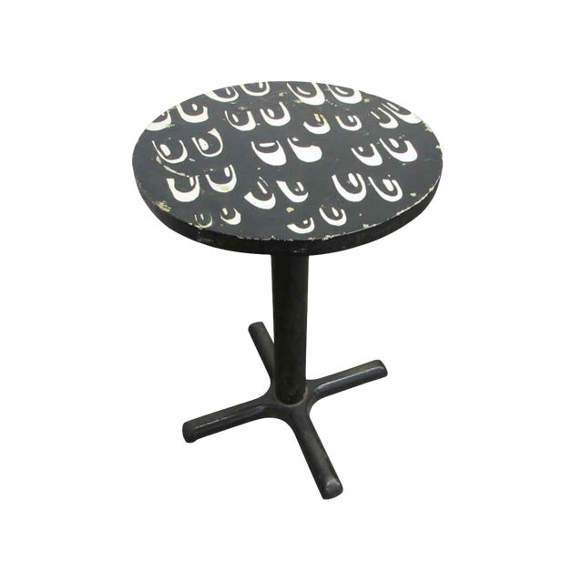 Small Mid-Century Eyes Design Black Bistro Table For Sale