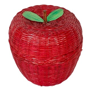 Vintage Apple Wicker Basket For Sale