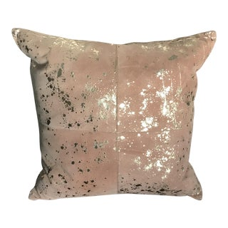 Brown Cowhide With Speckled Gold Pillow For Sale