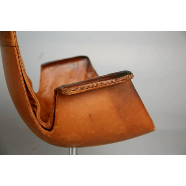 1960s Distressed Leather Bird Chair by Preben Fabricius & Jørgen Kastholm for Alfred Kill For Sale - Image 5 of 10