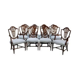 Hepplewhite Style Custom Mahogany Set of 12 Shield Back Dining Chairs by Millender For Sale