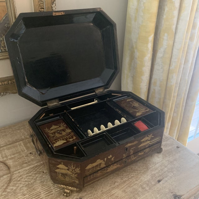 Red Antique Chinese Iron Red Lacquered Sewing Box on Feet With Drawer For Sale - Image 8 of 12