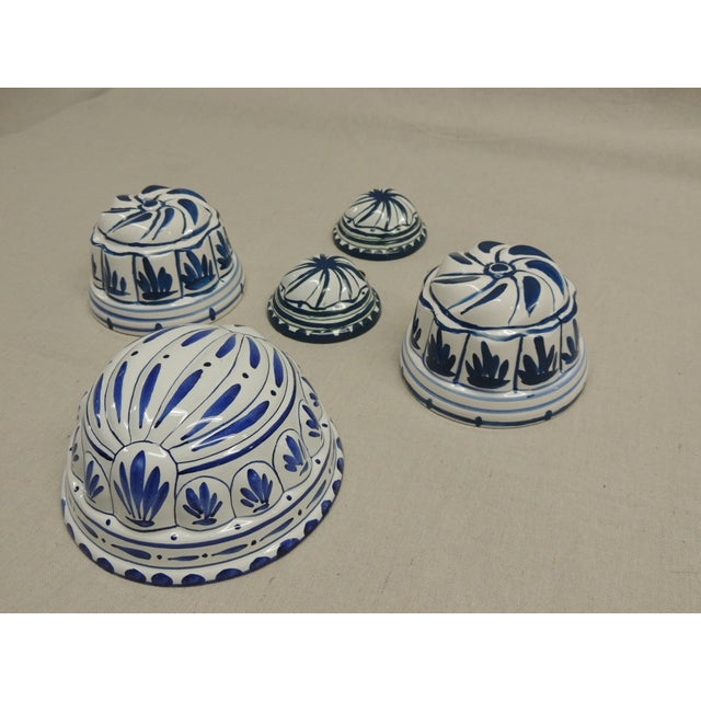Antique Blue and White Faience Molds - Set of 5 - Image 4 of 4