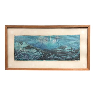 Vintage Mid Century Abstract Woodblock Print Signed For Sale