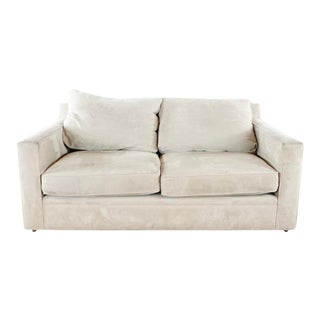 Room & Board Contemporary Suede Upholstered Two Cushion Sofa For Sale