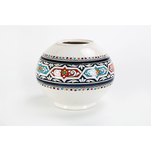 Moroccan Hand Painted Ceramic Globe Vase - Image 2 of 3