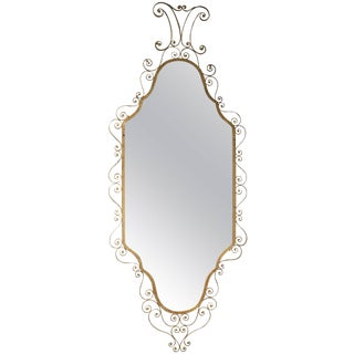 Mid-Century Modern Italian Wrought Iron Gilded Mirror For Sale