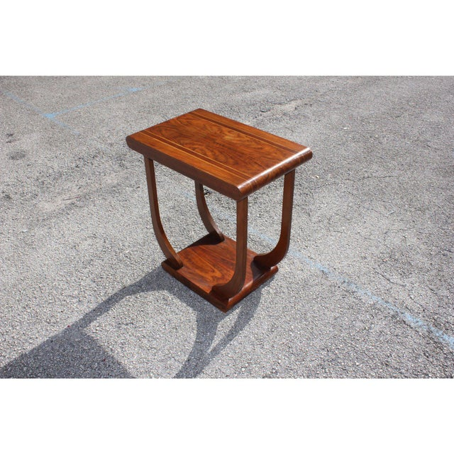 1940s Art Deco Exotic Walnut Side Table For Sale - Image 4 of 12