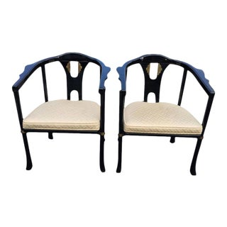 Century Asian Style Lacquered Armchairs - A Pair For Sale