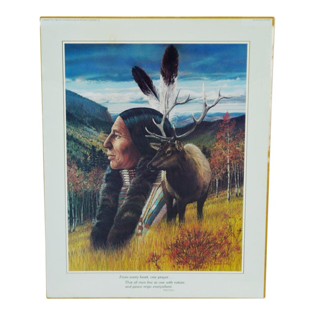 Vintage Native American Indian Print by Julie Kramer Cole Indian Prayer For Sale