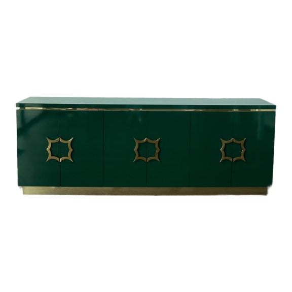 1960's Hollywood Regency Emerald Green Laminate Credenza For Sale