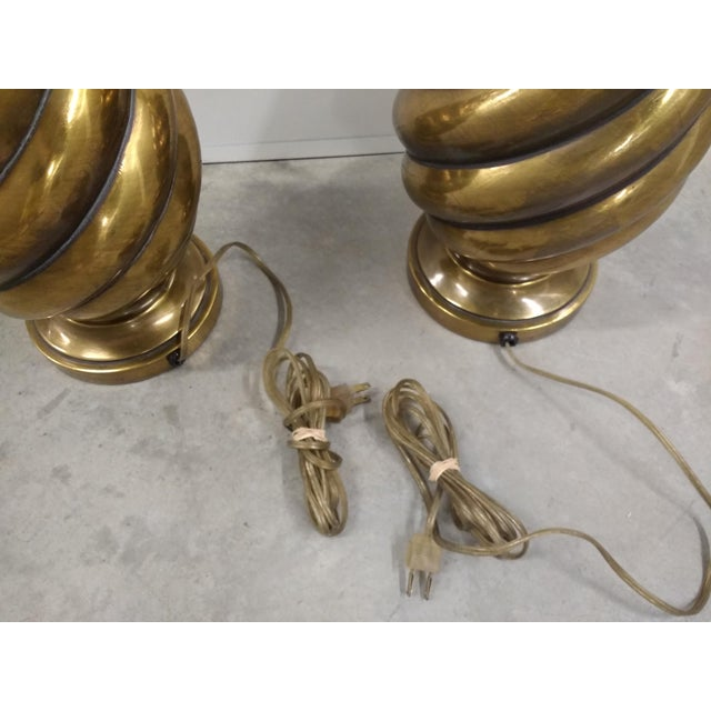 1970s 1970s Hollywood Regency Westwood Industries Brass Lamps- a Pair For Sale - Image 5 of 6