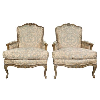Pair of Louis XV Style Fortuny Upholstered Bergeres