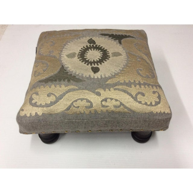 One of a kind ~ Suzani Embroidered Wood Footstool Shimmery accents bring an added touch of richness to the traditional...