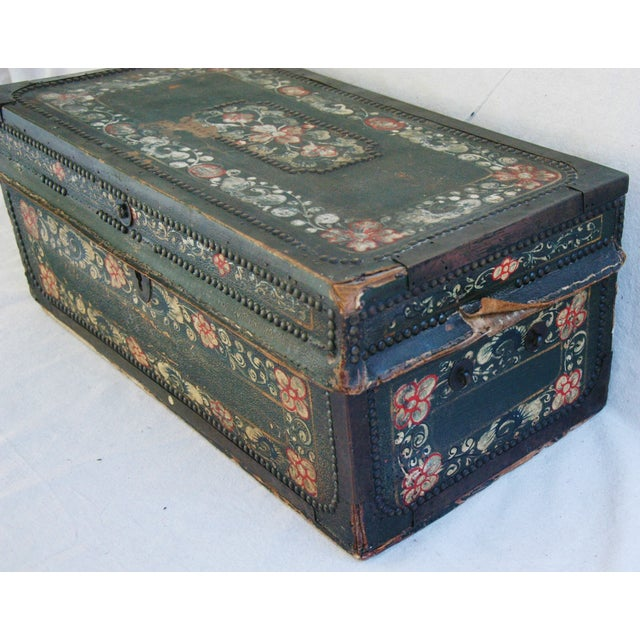 French 19th C. Hand Painted Leather Trunk - Image 6 of 10