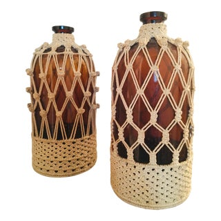 Vintage Amber Apothecary Jars - a Pair For Sale