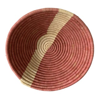 Vintage African Red and Cream Coil Basket For Sale