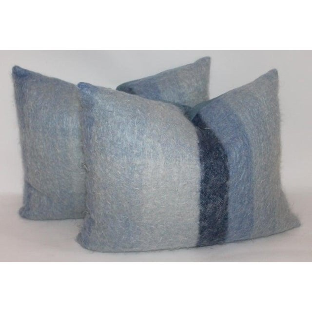 Mohair or Lambs Wool Blue Pillows - Set of 4 For Sale - Image 4 of 7