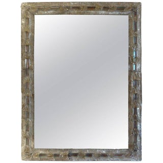 1940s Italian Venetian Glass Rectangular Wall Mirror