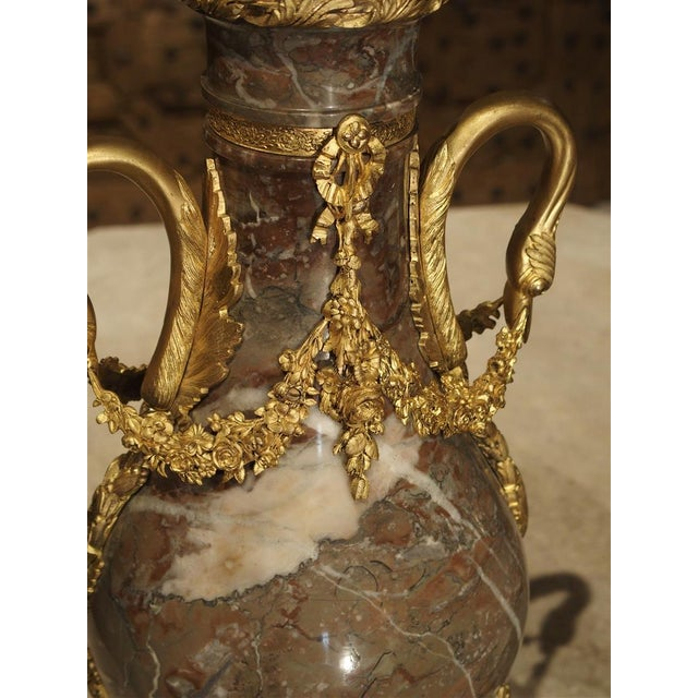 Pair of Circa 1860 Gilt Bronze and Marble Cassolettes from France For Sale - Image 10 of 11
