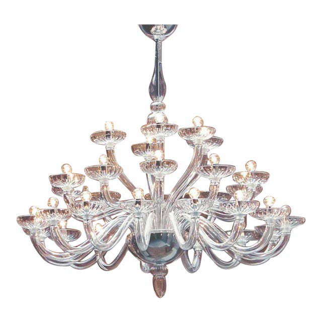 Large Italian Mid-Century Modern 30 Arm Clear Murano / Venetian Glass Chandelier For Sale