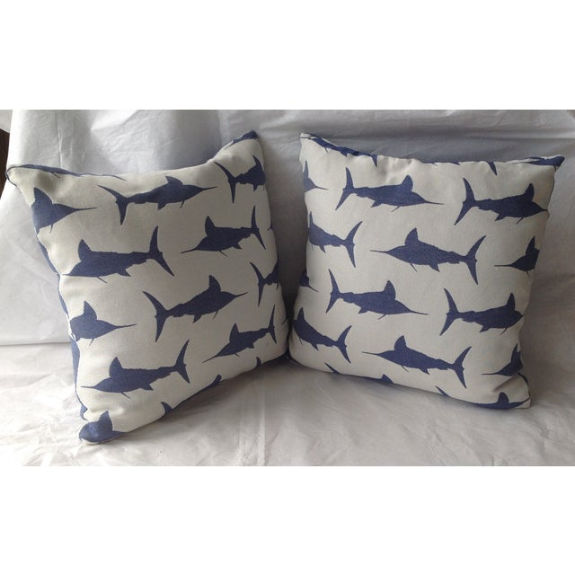 Contemporary Marlin Indoor/Outdoor Pillows - A Pair For Sale - Image 3 of 8