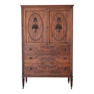 Antique Rosewood French Carved Chifferobe For Sale