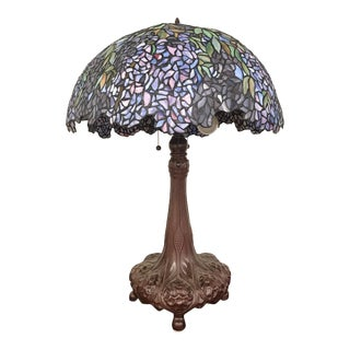 Tiffany Style Stained Glass Art Nouveau Art Glass Table Lamp For Sale