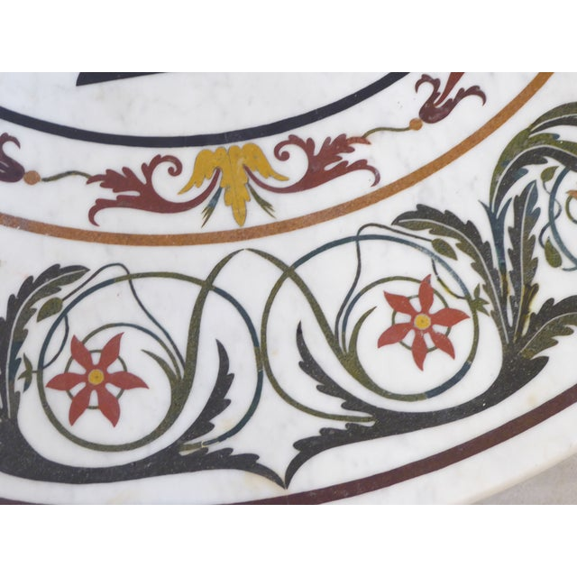 Vintage Italian Inlay White Marble Coffee Table For Sale - Image 4 of 8