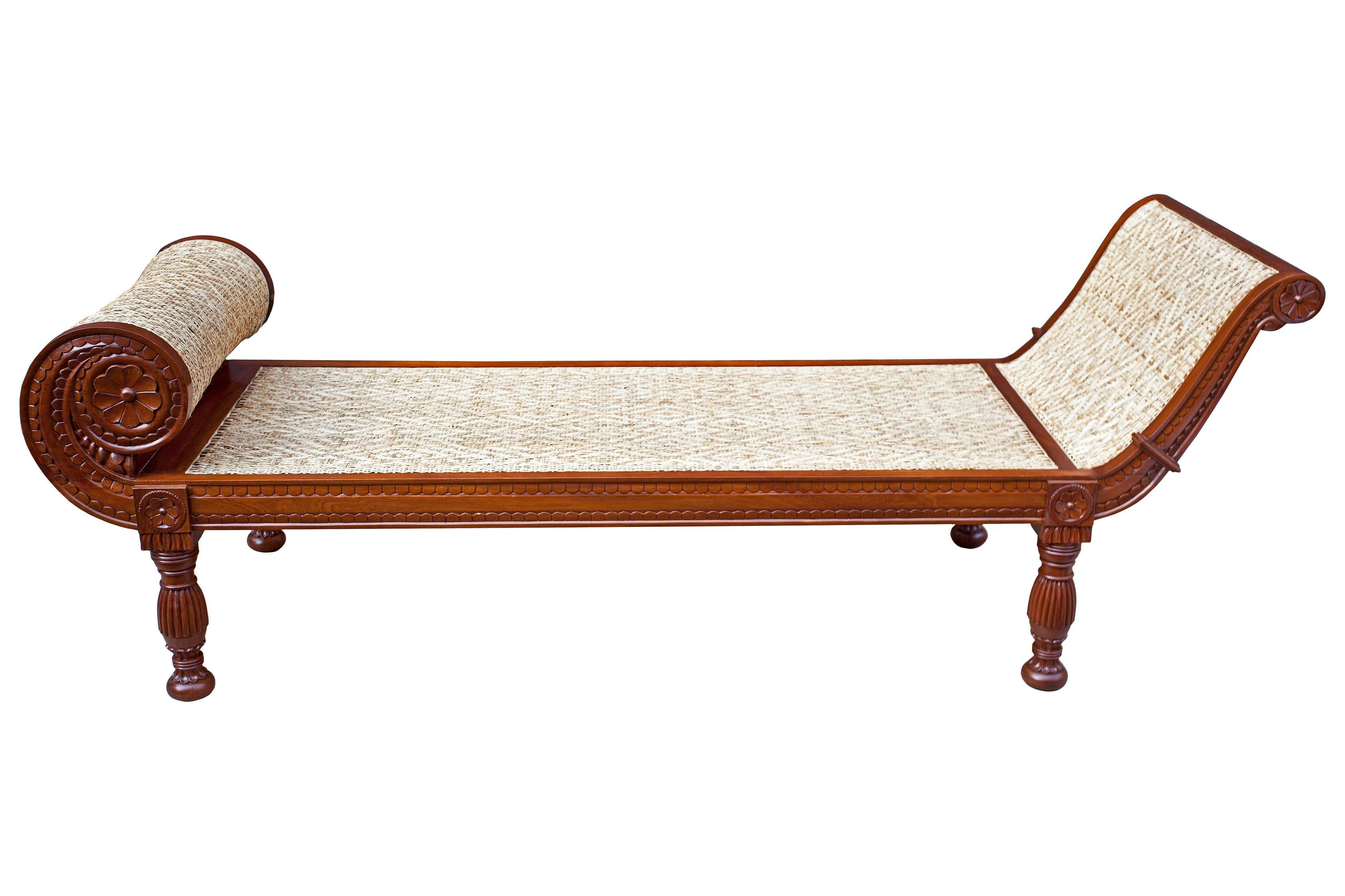 Super Excellent Colonial British Mahogany and Caned Daybed with Fine  DK68