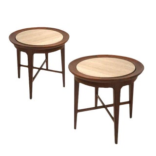 Midcentury Modern Travertine & Walnut Round End Tables or Stands Van Koert, Pair For Sale