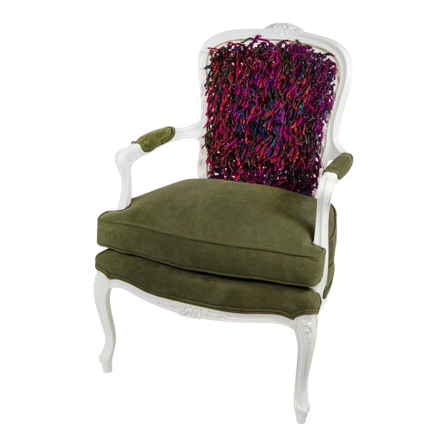 """Artsy"" Tasseled Bergere Chair For Sale"