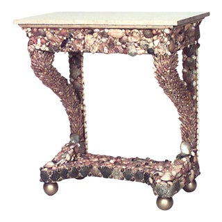 Italian Grotto Sea Shell Console Table For Sale