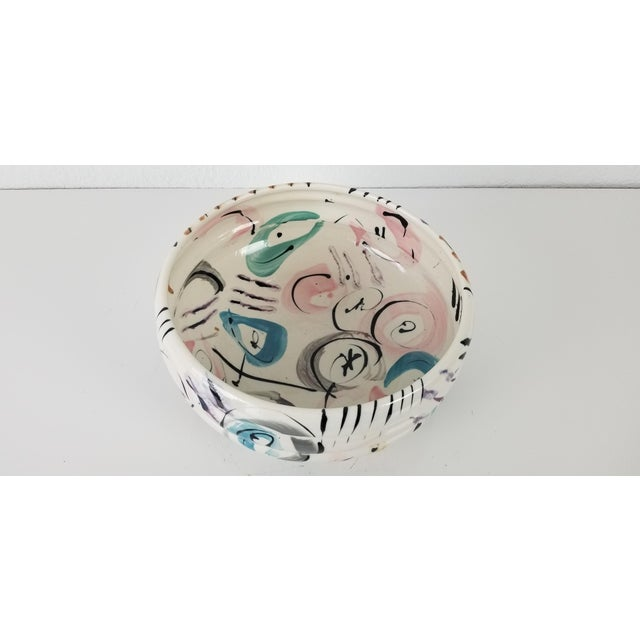 Mid-Century Modern 1988 Vintage Hand Painted Ceramic Bowl For Sale - Image 3 of 8