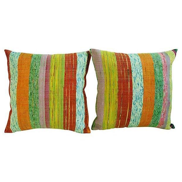 Custom Hand-Looped/Tufted Chindi Pillows - a Pair - Image 2 of 6