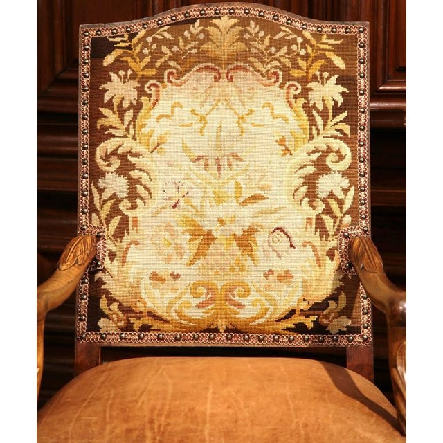 French French Leather & Needlepoint Armchairs - a Pair For Sale - Image 3 of 10