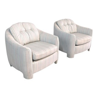 Post Modern Upholstered Parsons Lounge Chairs - a Pair For Sale