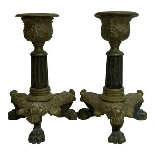 1800's Vintage Petite Candlestick Holders- A Pair For Sale