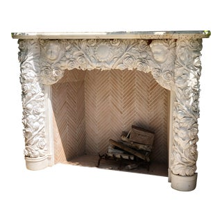 Italian Carved Marble Roses, Sunflowers and Cherubs Fireplace For Sale
