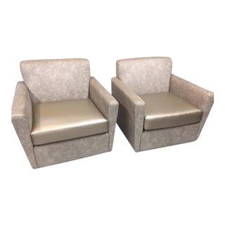 Modern Swivel Club Chair A Pair For Sale