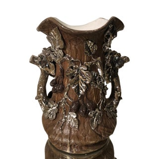 Rare Antique Mettlach English Art Pottery Vase W Silver Applique 1 of 2 For Sale