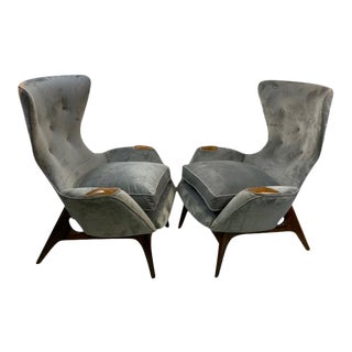 Vintage Modernist Adrian Pearsall Wing Chairs - a Pair For Sale